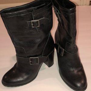 Adam Tucker Kaplin Black Leather Boots Size 8.5